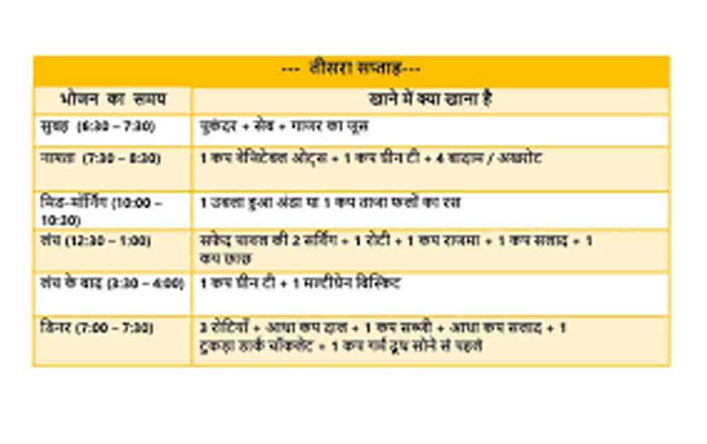 Vegetarian Diet Chart For Weight Loss In Hindi Famba